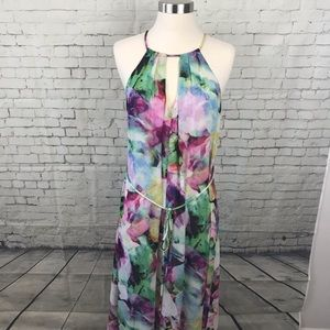 Maggy London colorful watercolor maxi dress